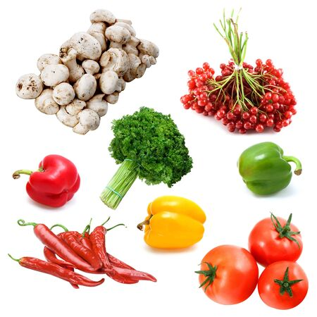 Still-life with fresh vegetables isolated on a white background photo