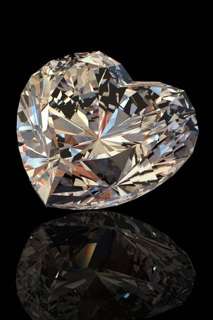 Brilliant shape of heart  on black background. Cognac diamond Stock Photo - 9410923
