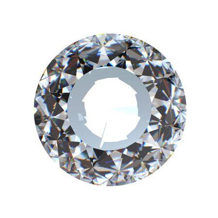 round brilliant: Ronda perspectiva brillante corte de diamantes aislados en fondo blanco Foto de archivo