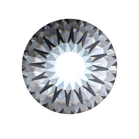 round brilliant: Brillante ronda corta perspectiva diamond aislada sobre fondo blanco