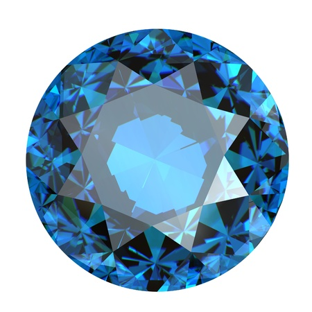 gemstone: Round swiss blue topaz isolated on white background. Gemstone