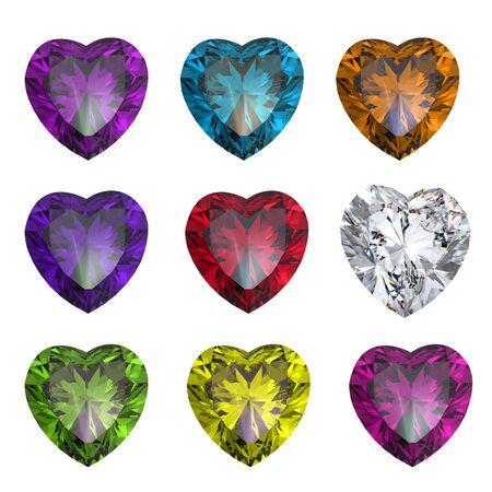 saffier: Collectie briljanten vorm van hart op een witte achtergrond Stockfoto
