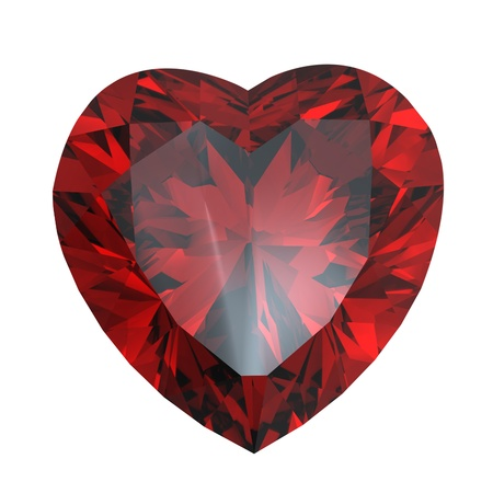 Red heart shaped garnet isolated