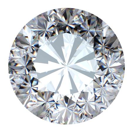 scintillate: Brillante ronda corta perspectiva diamond aislada sobre fondo blanco