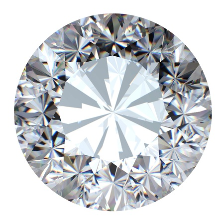 diamond stones: Round brilliant cut diamond perspective isolated on white background