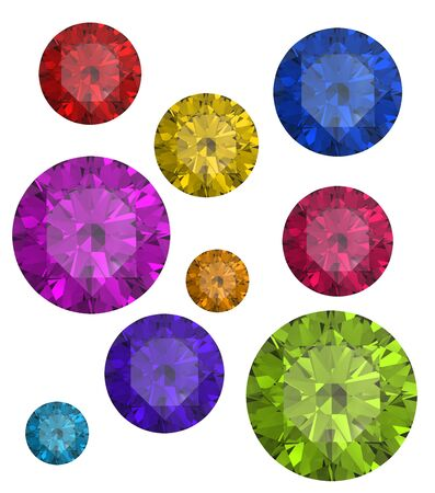 scintillation: Collections of gems isolated on white background. Gemstone