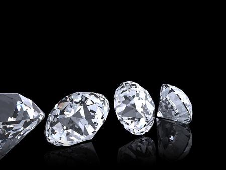 round brilliant: Brillante ronda corta perspectiva de diamante sobre fondo negro