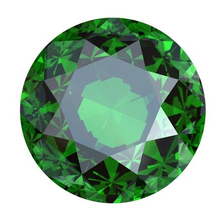 edelstenen: Ronde emerald geïsoleerd op een witte achtergrond. Edelsteen