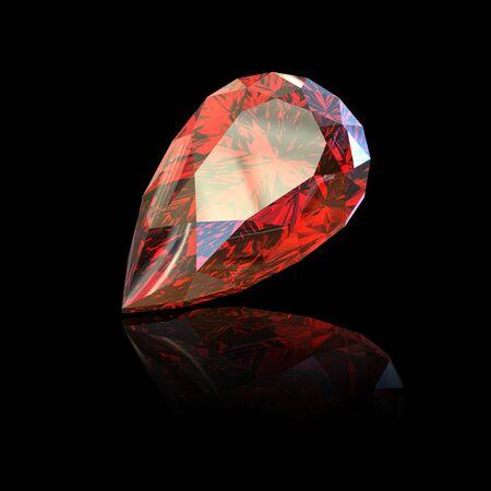 Jewelry gems shape of pear on black background. Ruby photo