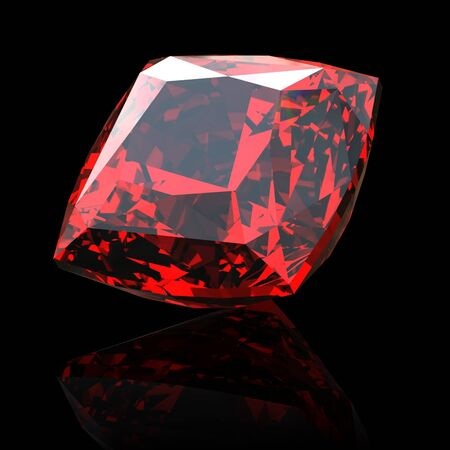 Jewelry gems shape of square on black background. Ruby Stock Photo