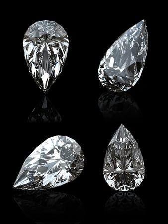 diamante negro: Conjunto de gemas de joyas sobre fondo negro. Rub�. Pera