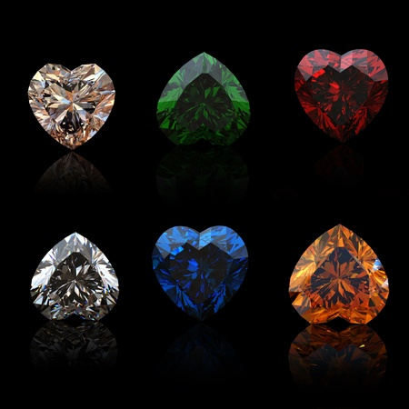 Collection brilliants shape of heart  on black background Stock Photo