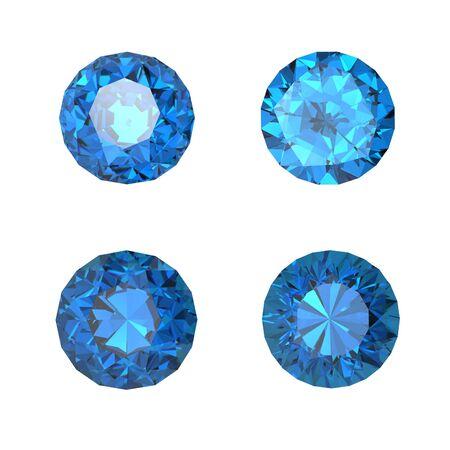 Round swiss blue topaz isolated on white background. Gemstone