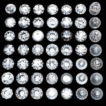 round brilliant: Ronda de diamantes talla brillante perspectiva sobre fondo negro Foto de archivo