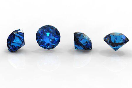 Round  blue sapphire isolated on black background. Gemstone