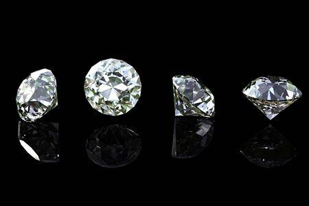 Round diamond  isolated on black background. Gemstone photo