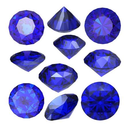 Round  blue sapphire isolated on white background. Gemstone