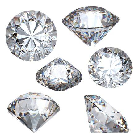 照らす: ラウンドブリリアント カット ダイヤモンド視点の白い背景で隔離 写真素材