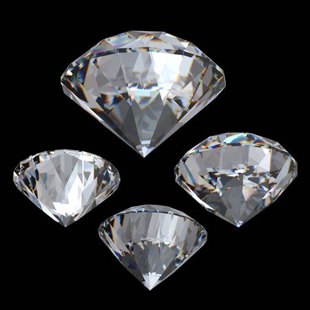 round brilliant: Brillante ronda corta perspectiva diamond aislado en fondo negro