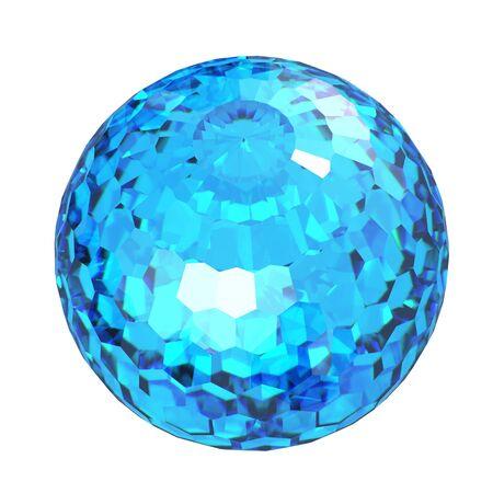topaz: Round swiss blue topaz isolated on white background. Gemstone