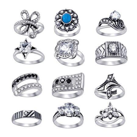 Stylish jewelry. Rings  with gems isolated on white background Stock Photo - 9610706