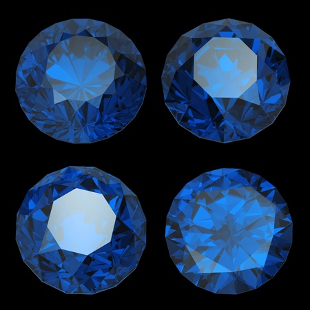 Round  blue sapphire isolated on black background. Gemstone photo