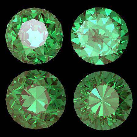 Round emerald isolated on white background. Gemstone photo
