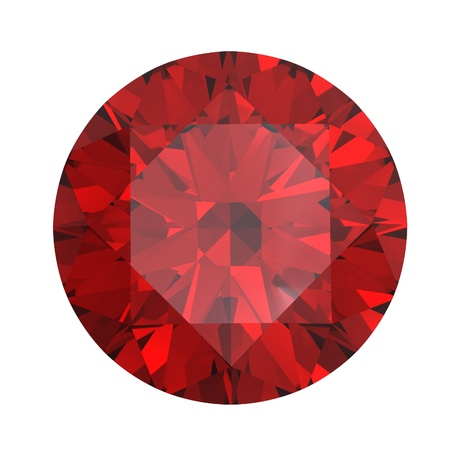 scintillation: Round garnet isolated on white background. Gemstone
