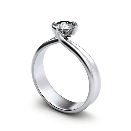 Ring with diamond isolated on white background Stock Photo - 9610088