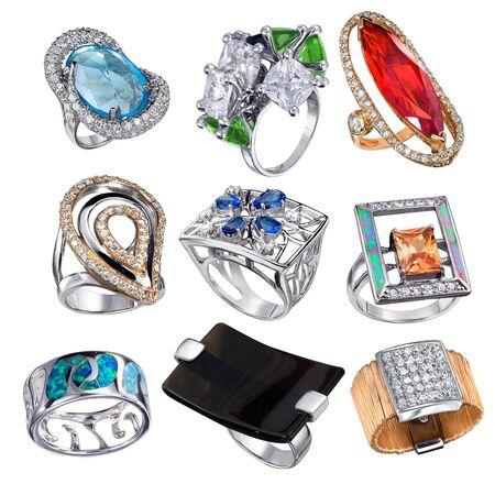Stylish jewelry. Rings  with gems isolated on white background Stock Photo - 9610684