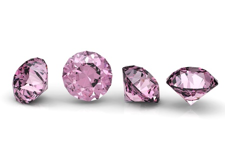 Collection of round pink diamond  isolated on white background  Stock Photo
