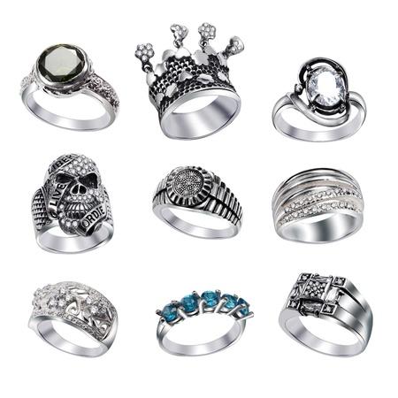 Stylish jewelry. Rings  with gems isolated on white background Stock Photo - 9610704
