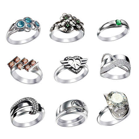 Stylish jewelry. Rings  with gems isolated on white background Stock Photo - 9610700