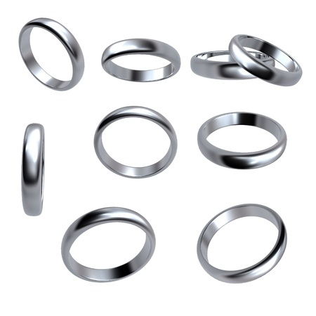 Collection of silver wedding rings  isolated on white background
