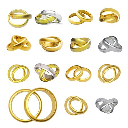 Collection of gold wedding rings  isolated on white background