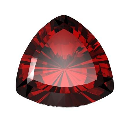 trillion: Jewelry gems shape of trillion on white background. Ruby