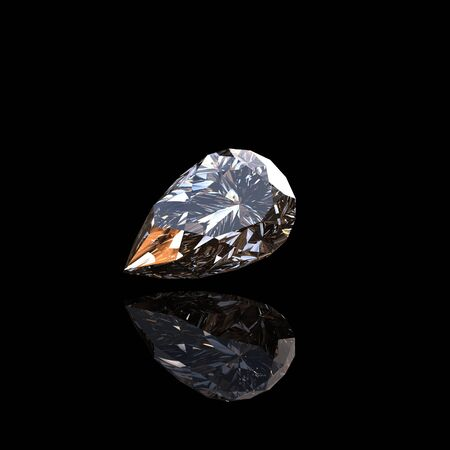 fake diamond: Jewelry gems on black background. Pear