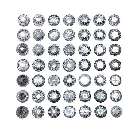 Round diamond isolated on white background