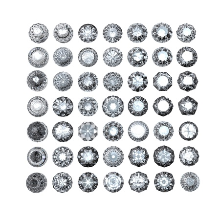 Round diamond isolated on white background