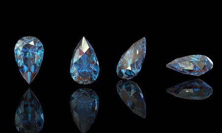 fake diamond: Pear. Collections of jewelry gems on black. Swiss blue topaz