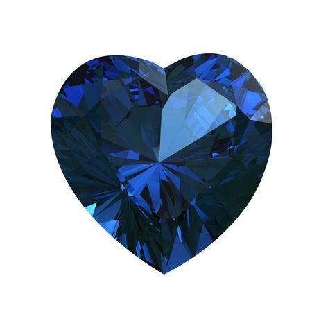 zafiro: Piedras preciosas en forma de corazón sobre fondo blanco background.Sapphire