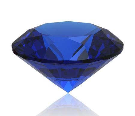 Blue sapphire gemstone isolated. Gems different cut