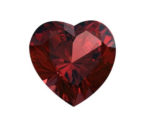 Garnet shape of heart on white background. Valentinr Stok Fotoğraf