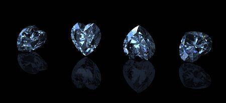 fake diamond: Gemstone shape of heart on black background. Swiss blue topaz