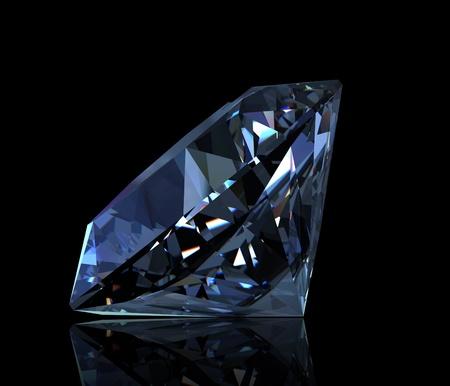 fake diamond: Gemstone round shape on black background. Swiss blue topaz Stock Photo