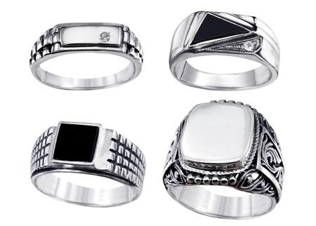 Stylish jewelry. Rings  with gems isolated on white background Stock Photo - 12009831