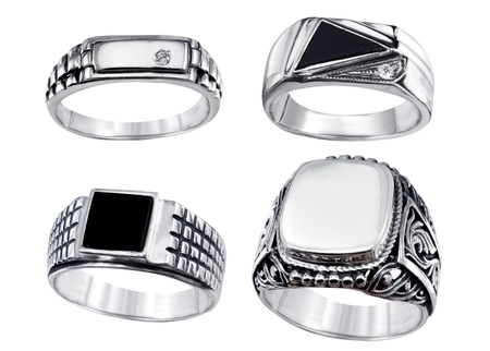 Stylish jewelry. Rings  with gems isolated on white background Stok Fotoğraf