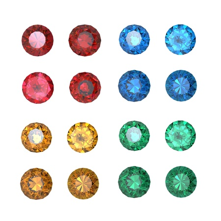 Collections of gems isolated on white background. Gemstone photo