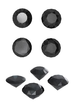 Round black sapphire isolated on white background. Gemstone Stock Photo - 12270508