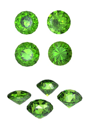 scintillation: Round peridot isolated on white background. Gemstone Stock Photo